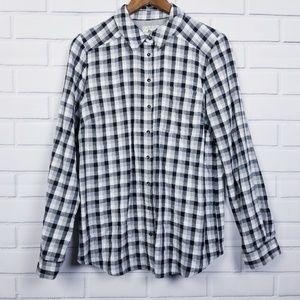 Bass Black White Long Sleeve Button Up Plaid Shirt